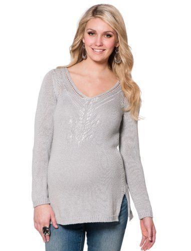 Motherhood Maternity: Jessica Simpson Long Sleeve Pointelle Maternity Sweater $34.99