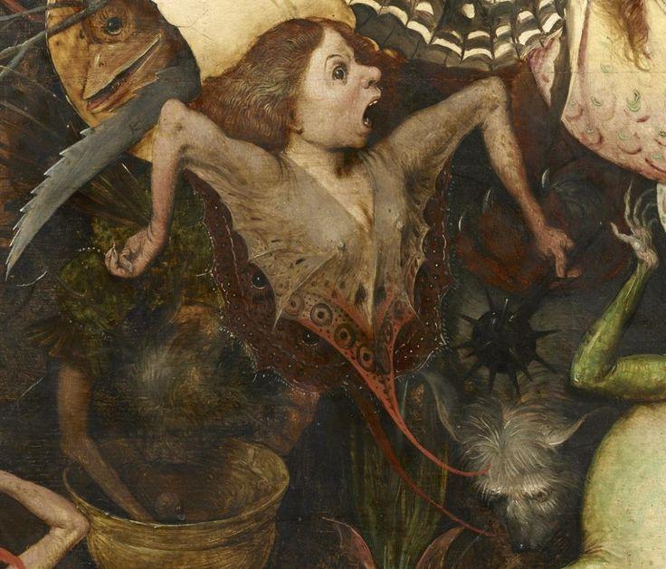 Een van de demonische wezen op Bruegels 'Val der opstandige engelen' draagt een tweedelig harnas, gemaakt van een zonnewijzer. De delen worden bijeengehouden door een lederen band (foto links). De vlindervleugels van een ander schepsel, met zwarte en gele motieven, zijn ontleend aan de koninginnenpage (bovenaan foto hiernaast).