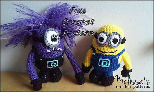 """Minion and Evil Minion  - Free Amigurumi Pattern - PDF File - Click """"download"""" or """"free Ravelry download"""" here:  http://www.ravelry.com/patterns/library/minion-and-evil-minion"""