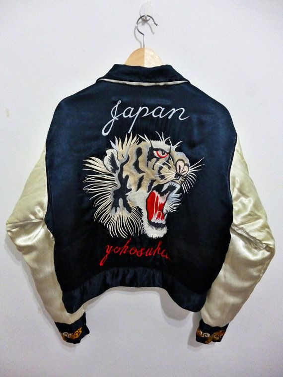 Vintage Yokosuka Tiger Japan REVERSIBLE Emboidered Satin Sukajan Souvenirs Bomber Jacket
