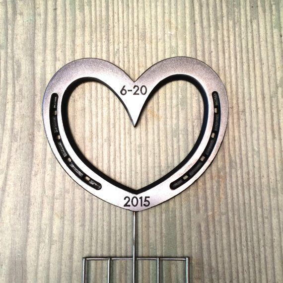 Wedding cake topper real Horseshoe Heart by BlacksmithCreations