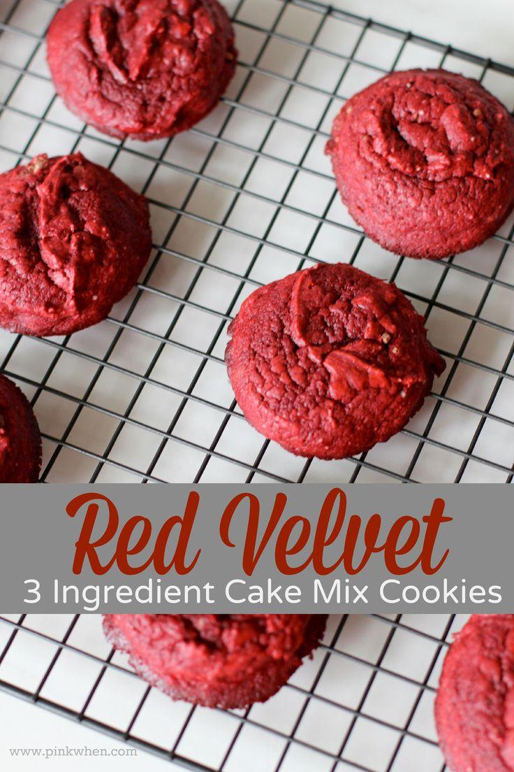 Red Velvet 3 Ingredient Cake Mix Cookies
