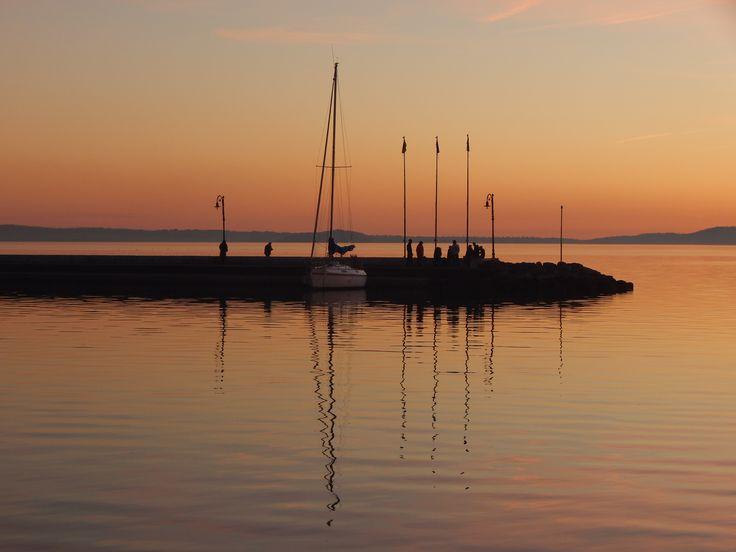Ship and sunset, Bolsena lake