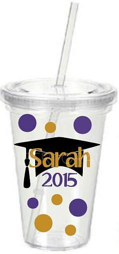 Personalized Tumbler with Graduation Cap, Name, Year and Polka Dots by PiperGraceGifts on Etsy
