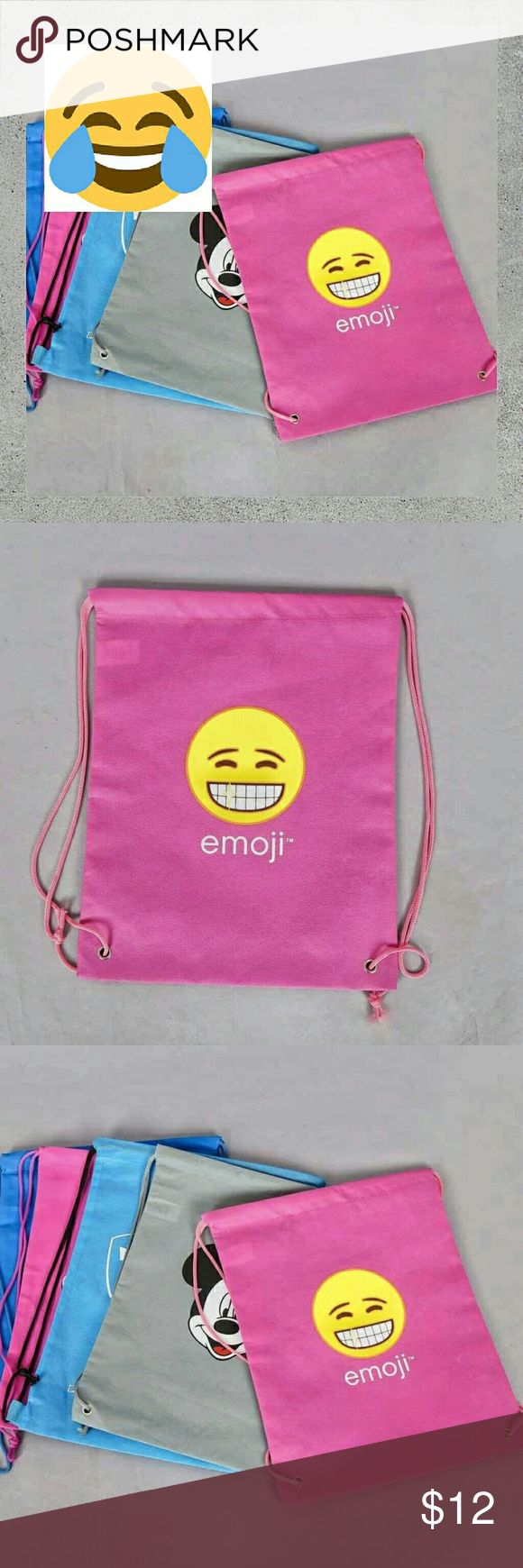 NWT {Emoji} Girl's Pink Sack •Pink Iconic Emoji Brand Sack Backpack.   •Highlights: Pink Colored Nylon Cord, Pink Polypropylene Sack. Yellow Smiling Emoji Screen Print.   •No Discoloration •No Tears •No Stains •NWT •OFFERS WELCOME •TRADE ALSO •DOG FRIENDLY •SMOKE FREE HOME Emojis Accessories Bags