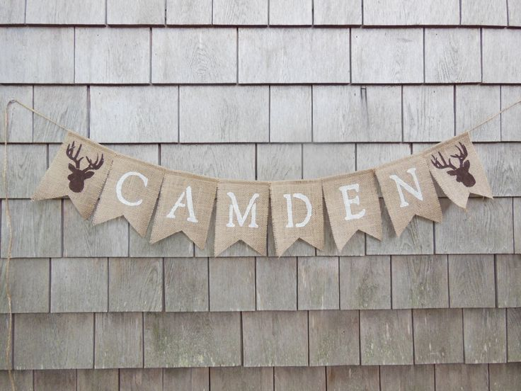 Custom Personalized Name Banner, Woodland Nursery Decor, Stag Deer Antlers, Burlap Garland Bunting, Baby Shower Decor, Camp Hunting Banner by IchabodsImagination on Etsy https://www.etsy.com/listing/203200063/custom-personalized-name-banner-woodland