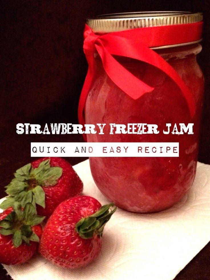 Easy Strawberry Freezer Jam Recipe via @amomstake