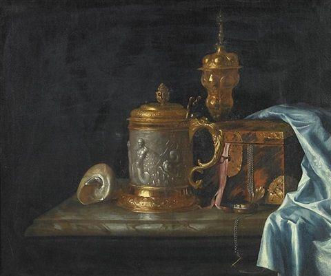 Artist: Pieter Gerritsz van Roestraten (Dutch, lived circa 1630–1700) Title: Variastilleben mit Deckelkrug, Pokal, Schmuckkassette und einer Muschel