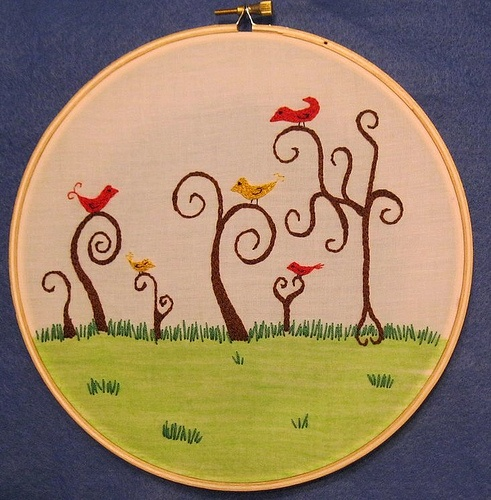 beautiful : Crafty Stuff, Things Crafty, Art Hoop, Embroidery Hoopla Xstitch, Angry Birds, Embroidery Hoops, Pleasant Perch, Bastidores Decorados, Perch Embroidery
