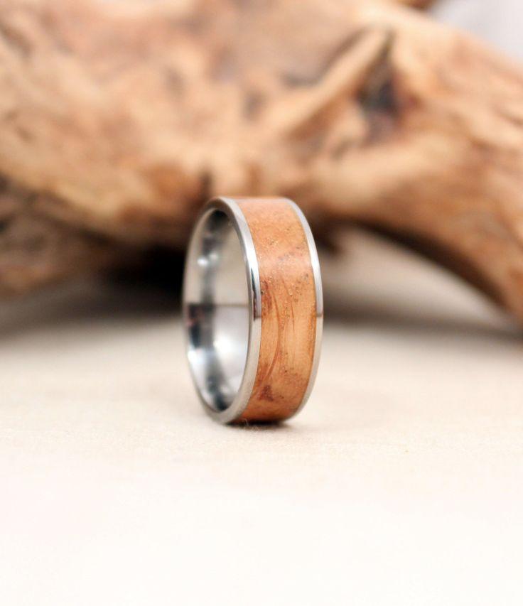 Jack Daniels American White Oak and Titanium Ring Wood Ring. $205.00, via Etsy.