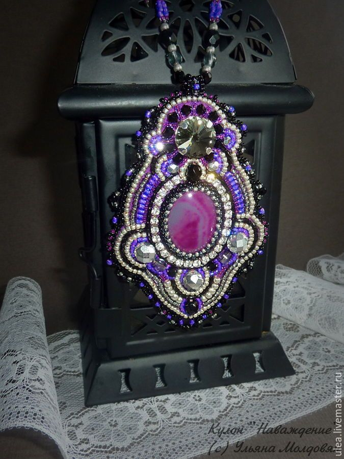 "Buy Black pendant ""Obsession"" - purple, black, gothic style, gift girl, buy pendant"