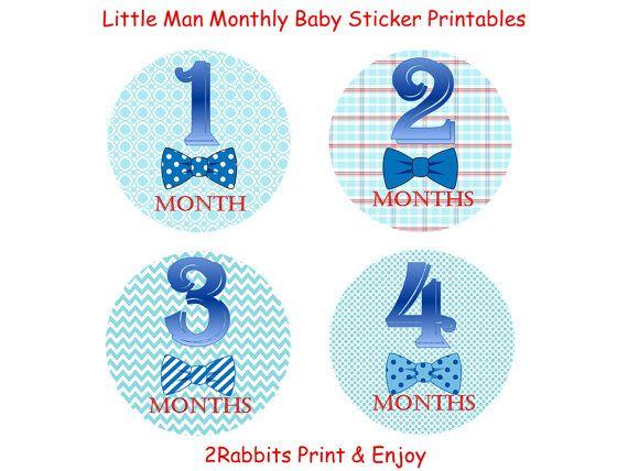 #Little #Man #Themed #Baby #Shower DIY Printable #Monthly #Onesie #Stickers by 2RabbitsPrintEnjoy