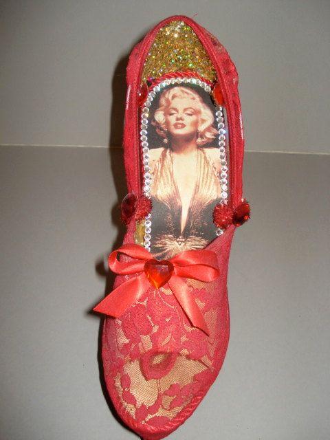 high heel shoe sculpture Marilyn Monroe  by SoleSensations on Etsy, $150.00