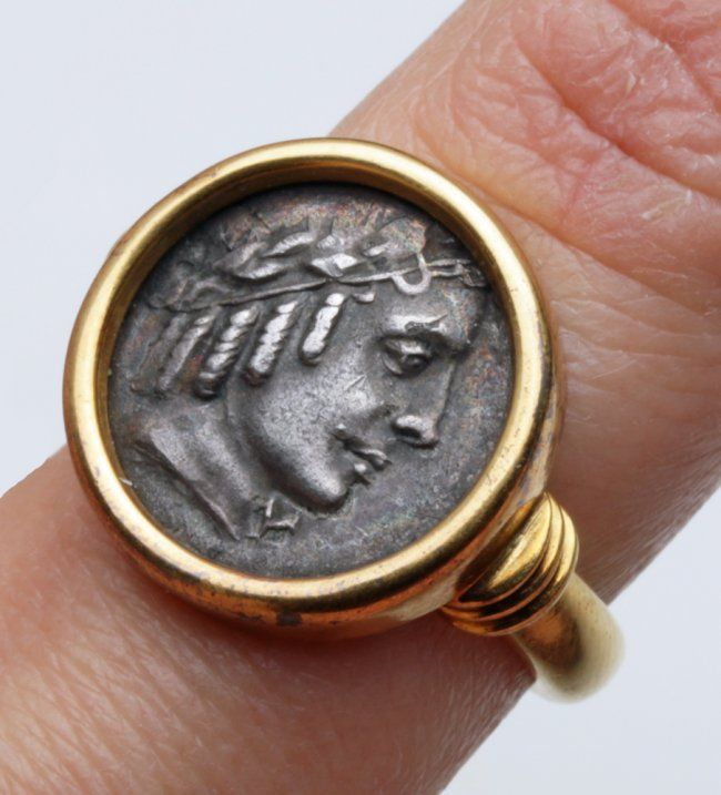 Roman Period Silver Coin Set in Modern Gold Ring : Lot 46I