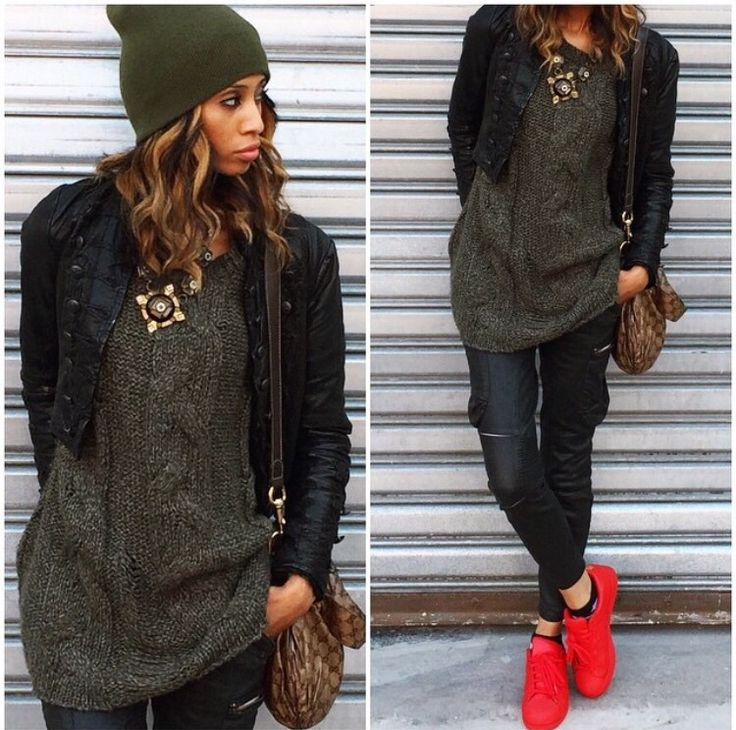 The red sneakers makes this olive green and black look more fun. The olive green beanie will keep your ears warm while you are strutting on a leave-filled sidewalk with your red Adidas.