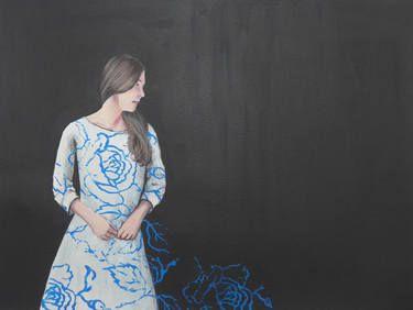 "Saatchi Art Artist Karoline Kroiß; Painting, ""girl with patterned dress"" #art"