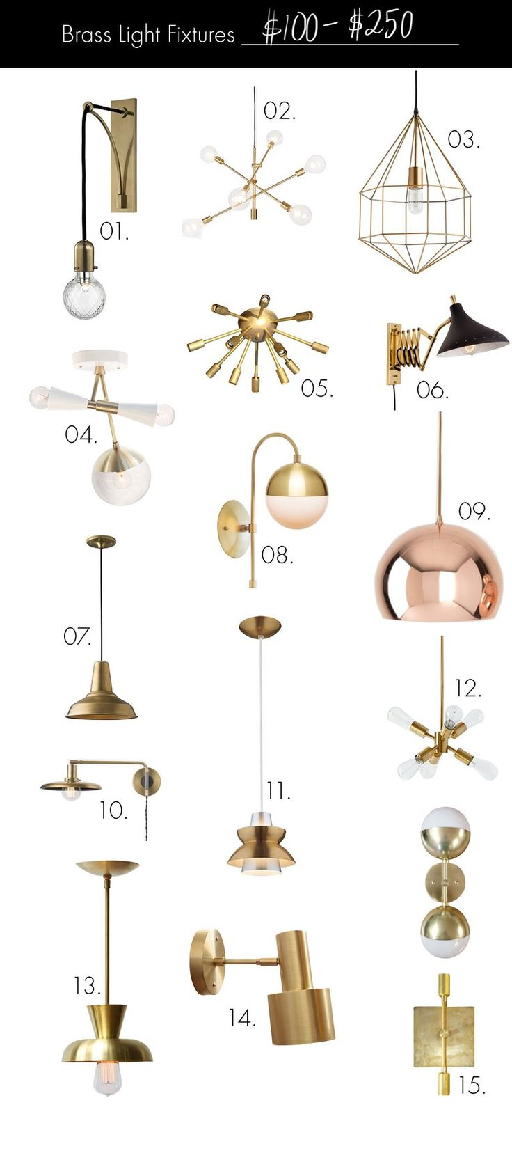 Brass Light Fixtures On Any Budget 100 250