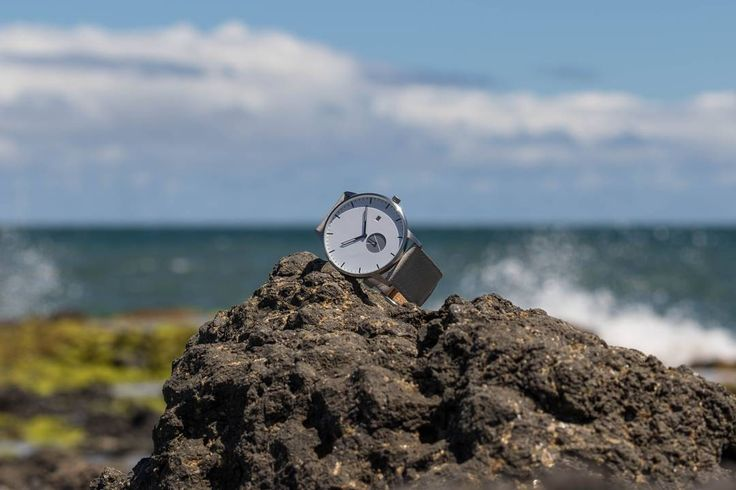 signature model 1 with grey strap. beach ready.  WHY Watches. www.whywatches.com