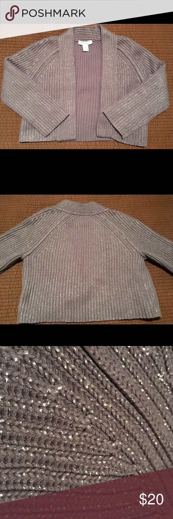 """WHBM Knit shrug / cardigan Grey with sparkling silver stitching cardigan.  It's a short cardi (waist length or shorter based on height) and would be great for a casual look or over a holiday dress!  Super cute!!!  Condition:  Perfect gently preworn condition.  No flaws.  Like new!!  Measurement: Back: 18"""" (from top of collar to bottom) Back minus collar: 16"""" Bust: 17"""" (but since it's Knit, it's stretchy/flexible) Sleeve: 21""""  Material & care: 63% cotton 37% Acrylic Hand wash cold,"""