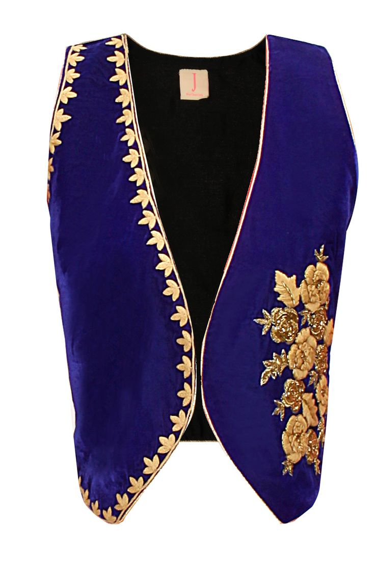Blue floral embroidered waist coat available only at Pernia's Pop-Up Shop.