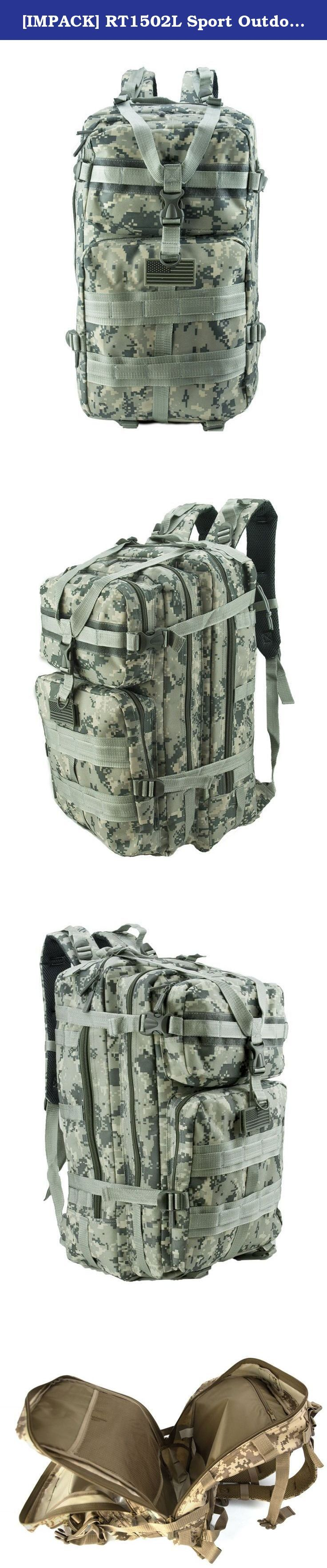 "[IMPACK] RT1502L Sport Outdoor 20"" Military Tactical Molle Backpack Camping Hiking Trekking Big Backpack (ACU). Dimension : 20"" x 11"" x 11""."