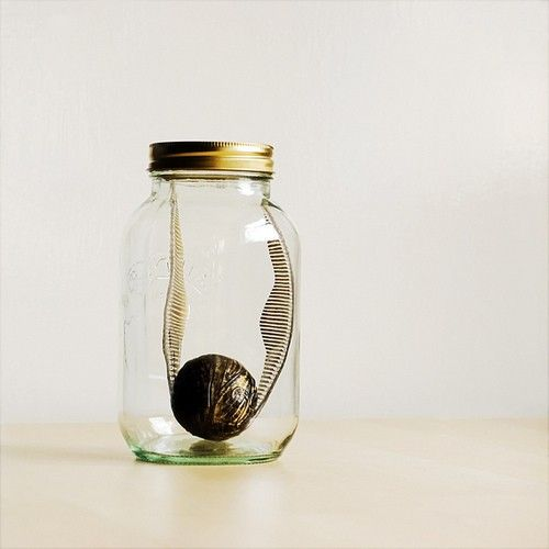 Snitch in a jar. Quirky decoration idea.