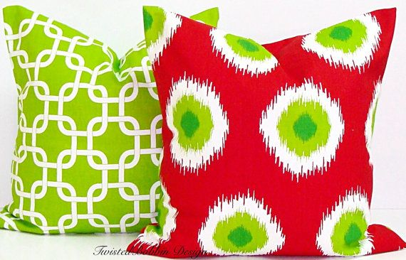 Lime Green & Red Pillow Cover Christmas by TwistedBobbinPillows
