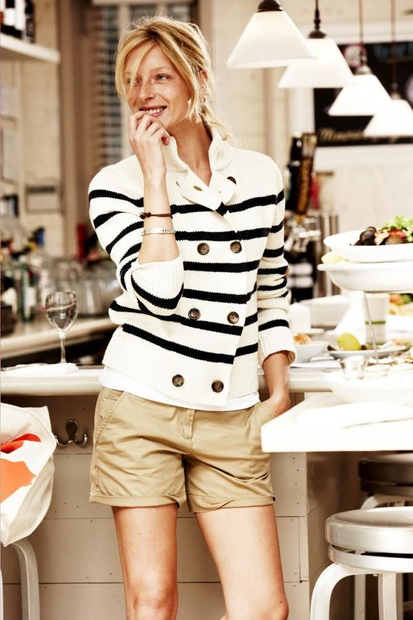 love the striped sweater with the shorts - dresses up the shorts