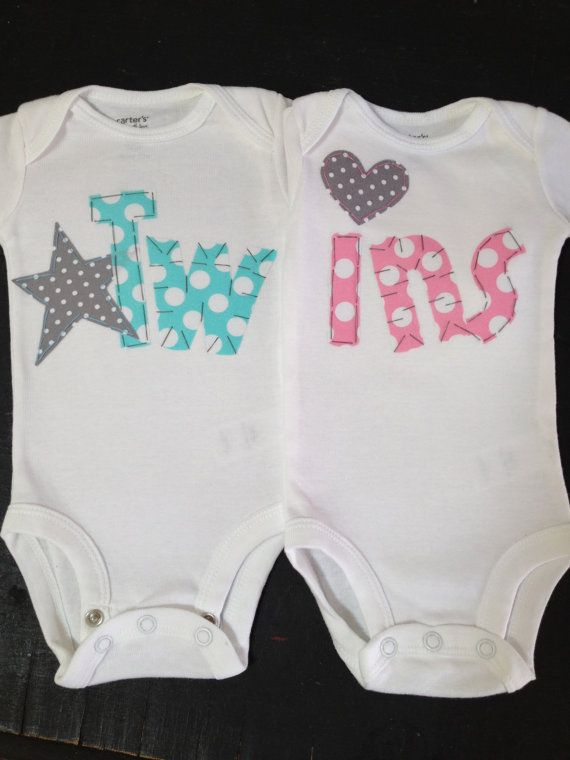 Boy Girl Twin bodysuits Bubblegum Pink and by PaisleyPrintsSpokane