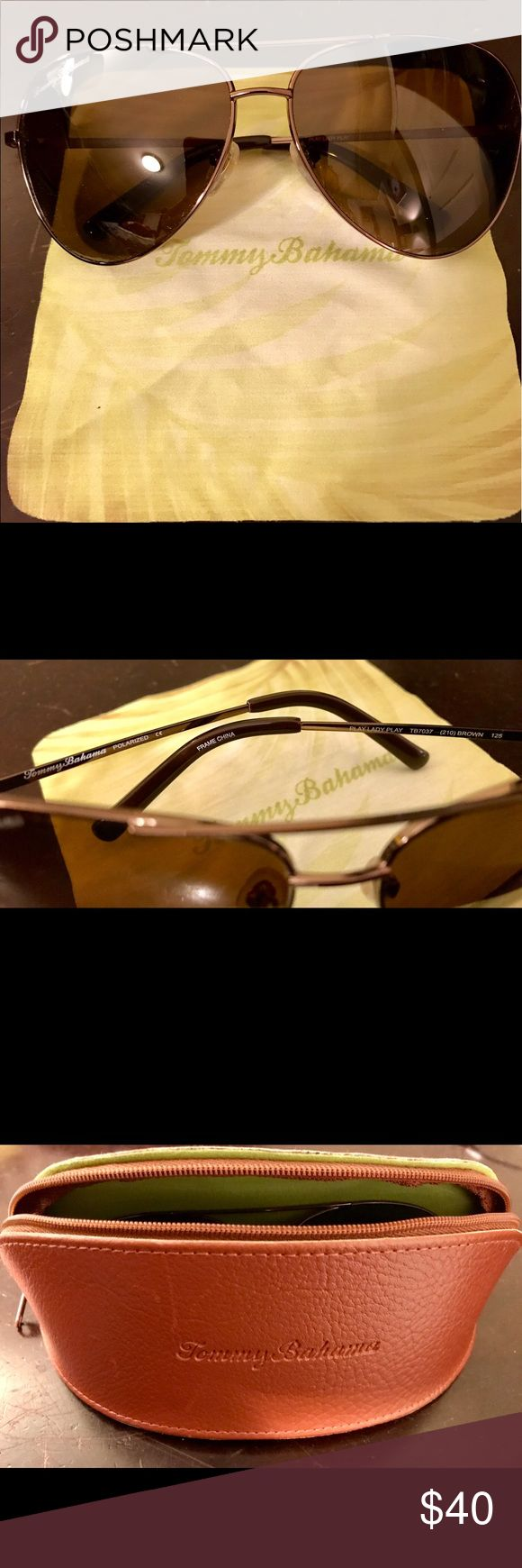 Tommy Bahama Polarized Women Aviator Sunglasses Tommy Bahama Polarized Play Lady Play sunglass. Color: Brown. Brand New. Received as a gift and never used. Comes with case and lenses cloth. Tommy Bahama Accessories Sunglasses