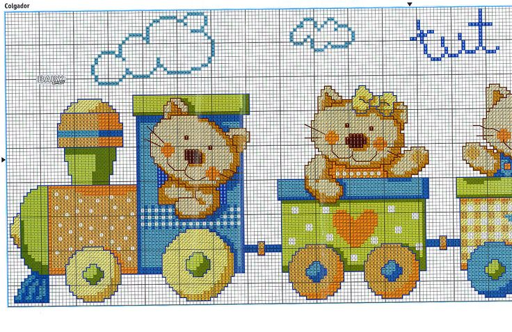 Kitty train 1/3.......Solo Patrones Punto Cruz (pág. 425) | Aprender manualidades es facilisimo.com