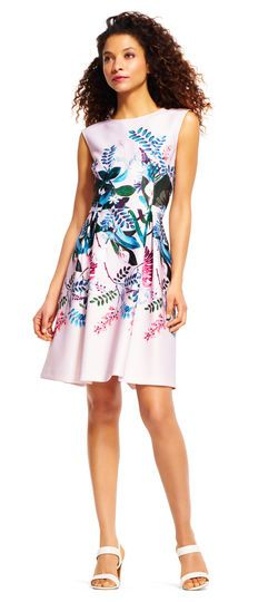 Adrianna Papell   Sleeveless Floral Oasis Fit and Flare Dress