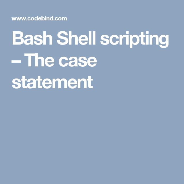 Bash Shell scripting – The case statement
