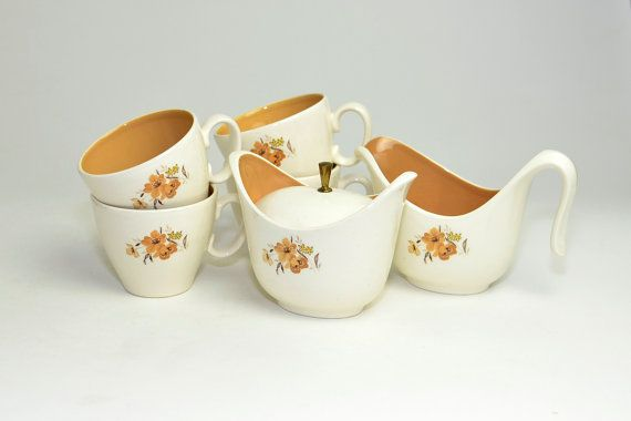 Taylor Smith & Taylor Dishes Set - Wood Rose Pattern: Creamer Gravy Boat, Lidded Sugar Bowl, Coffee Cups