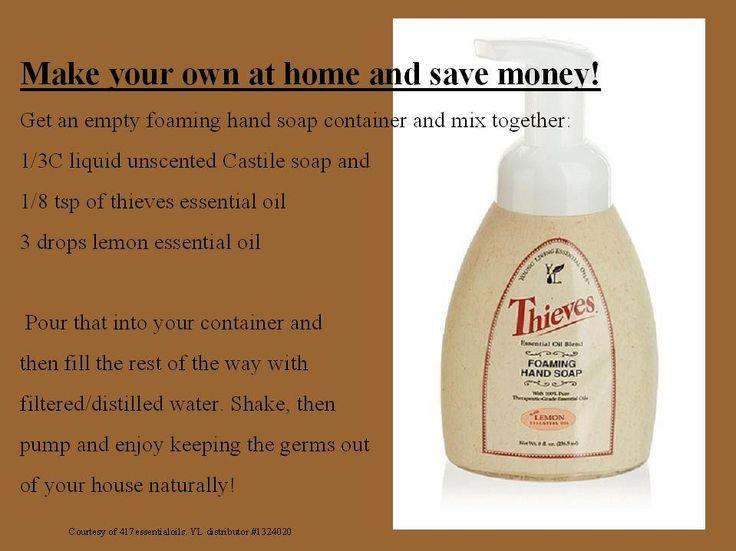 Homemade Thieves foaming hand soap recipe. www.facebook.com/417essentialoils