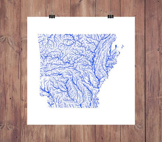 Arkansas Map - Stunning High-Resolution printable Map of Arkansas Rivers in Amazing Detail. Colorful Arkansas Wall Art