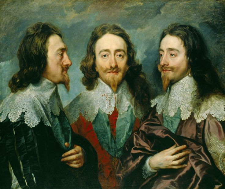 Charles I, 1636.  Great collars and beards!King Charles, Art Blog, Triple Portraits, Angled, Canvas, Anthony Vans Dyck, Windsor Castle, Three Positive, Oil Painting