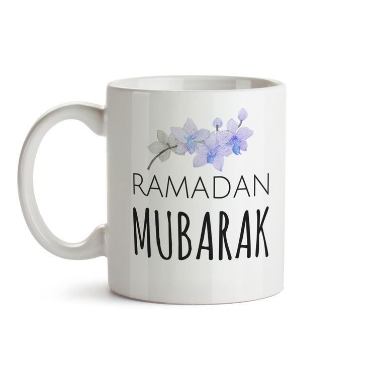 """Orchid Ramadan Mug - Ramadan Mubarak - Islamic gifts - Ramadan Gifts - Islamic Mug - Arabic Gifts - Eid Gifts. This simple modern mug says """"Ramadan Mubarak """", perfect for those coffee/Chai/Tea addicts in your life! A perfect Ramadan gift, with the duaa of Breaking fast on the back side. (facing you) This mug can be easily gifted to anyone and everyone. Make that extraordinary person in your life feel delighted to fast and break fast with this important reminder. LISTING INCLUDES: - one 11…"""