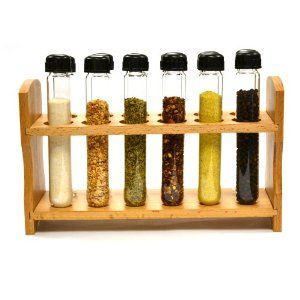 A Test Tube Spice Rack... an absolutely perfect addition when you're living with a scientist. :D