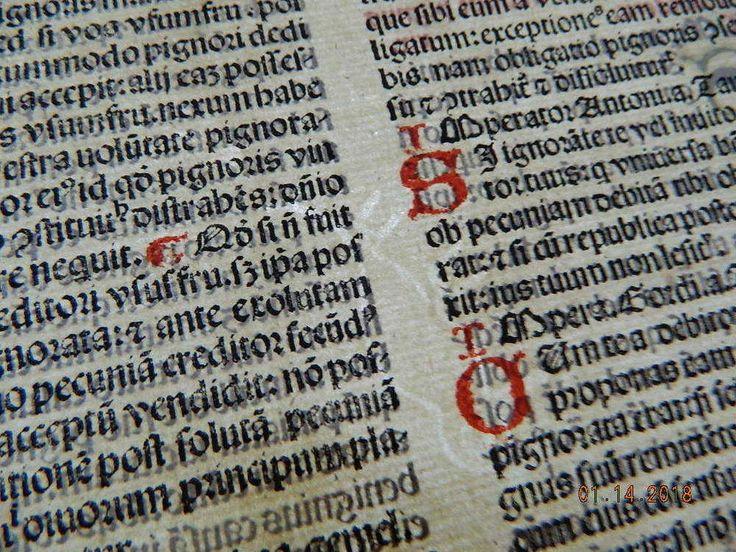 Antique Venetian Incunable Incunabula Linen Pap w Watermark Corpus Juris Civilis