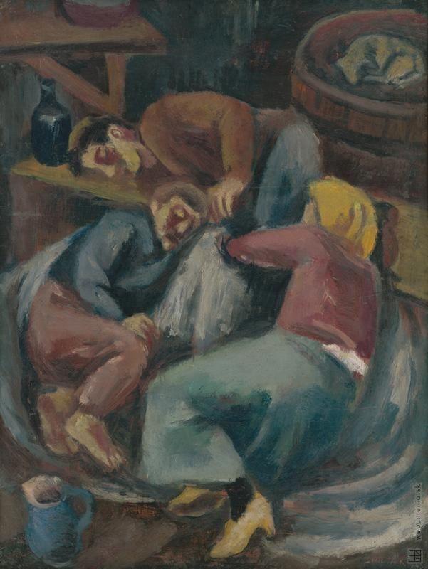 Ernest Zmeták: V čakárni:1945