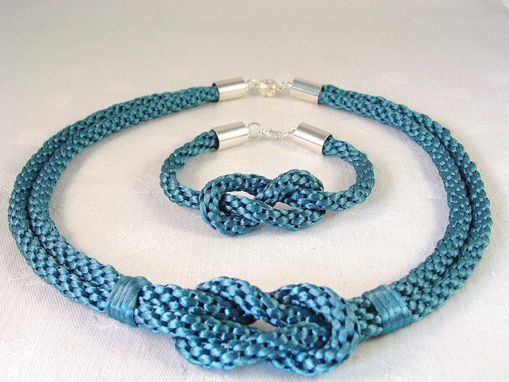 Kumihimo Knot Necklace and Bracelet Set by NaturalDesignStudio, $67.00
