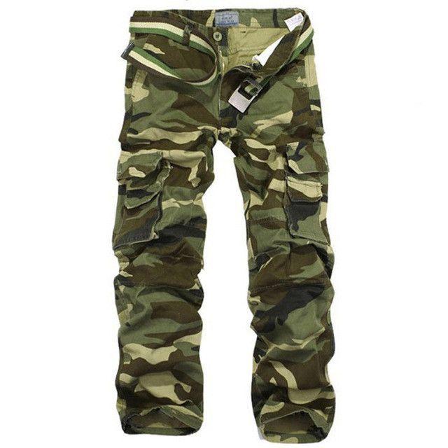 TANGNEST 2017 Hot Sale Camouflage Men's Cargo Pants MId-waist Full-length Trousers Autumn Leisure Men Pants Size 38