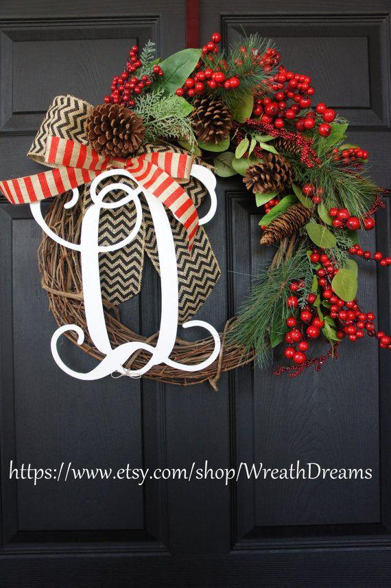 Guirlande de vigne de Noël avec toile de jute de Chevron. Guirlande de Noël. Couronne de l