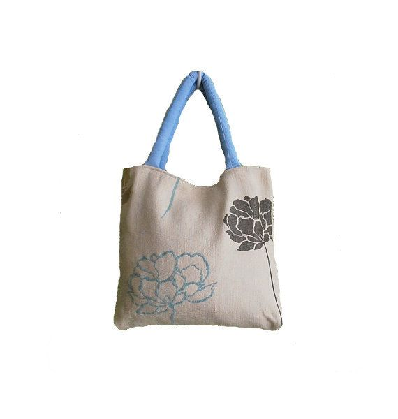 Upholstery tote bag shoulder bag with rose by Monalinebags on Etsy, $30.00