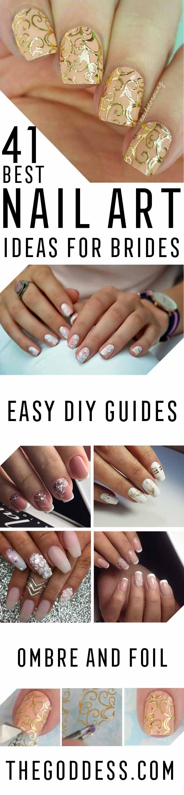 Best Nail Art Ideas for Brides - Simpe, Cute, DIY NailArt Tutorials That Are Step By Step For Brides.  Everything From The Wedding Manicure To French Tips To Simple Sparkle and Bling For The Ring Finger.  These Are Super Fun And Super Easy Bridal Nails - http://thegoddess.com/nail-art-ideas-for-brides