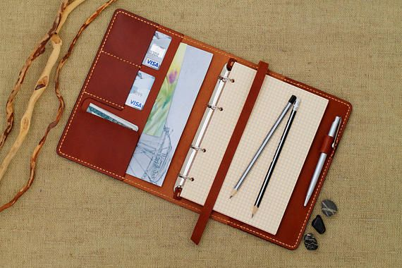 Leather Organizer Leather Cover Daily Diary Leather Cover