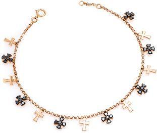 CR by Casa Reale 18 K Black Diamond Multi Cross Charm Chain Bracelet.