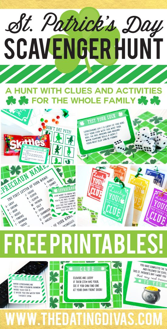 Free printables for an easy-to-prep St. Patrick's Day Scavenger Hunt that the whole family can enjoy! What I love about this is that it has clues AND activities - the kids are going to LOVE this! www.TheDatingDivas.com
