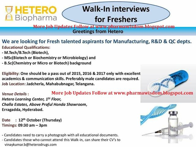 PHARMA WISDOM: HETERO Biopharma - Walk-In Interviews for